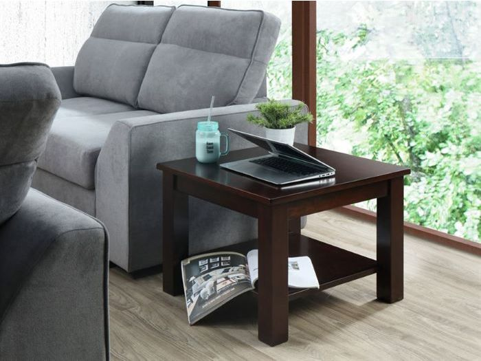 Room with Modern Living Room  Furniture containing Myer Lamp or Side Table built with Chocolate Hardwood