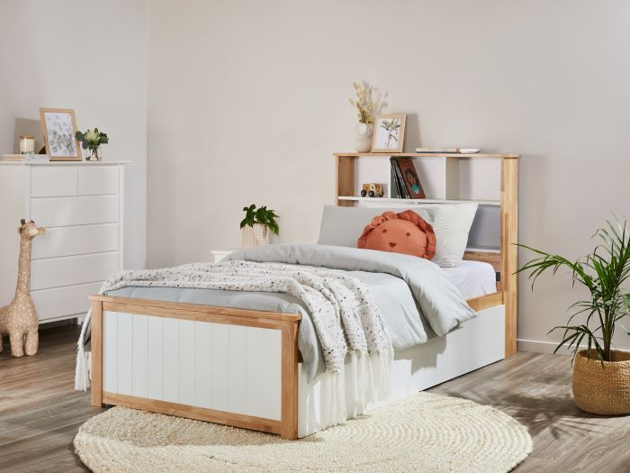Room with Modern Toddler Bedroom Furniture containing Myer 3PCE Natural & White Single Bedroom Suite with trundle