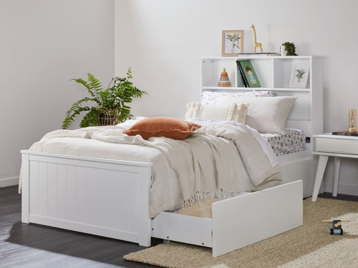 Close up of Room with Modern toddler bedroom furniture containing Myer White Single Bed with Under-Bed Storage & Bookshelf