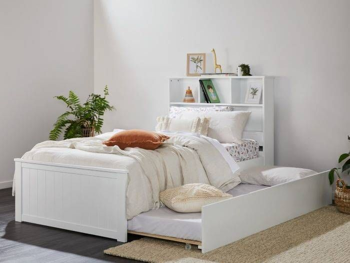 Room with Modern toddler bedroom furniture containing Myer White Single Bed with Trundle & Bookshelf