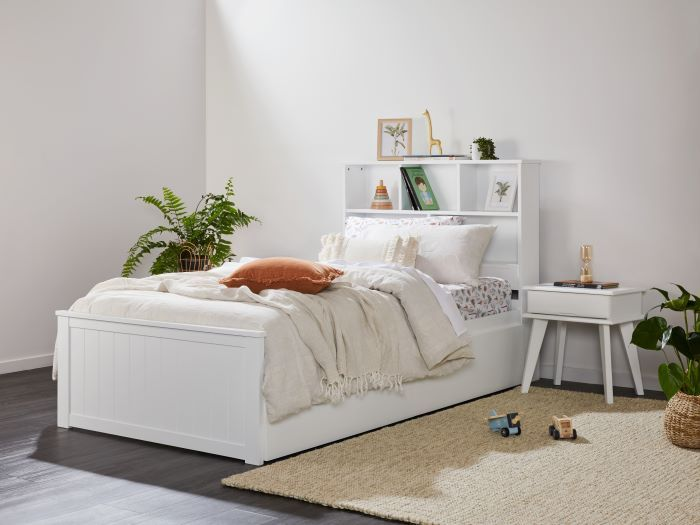 Side view of Modern toddler bedroom furniture containing Myer White Single Bed with Trundle & Bookshelf