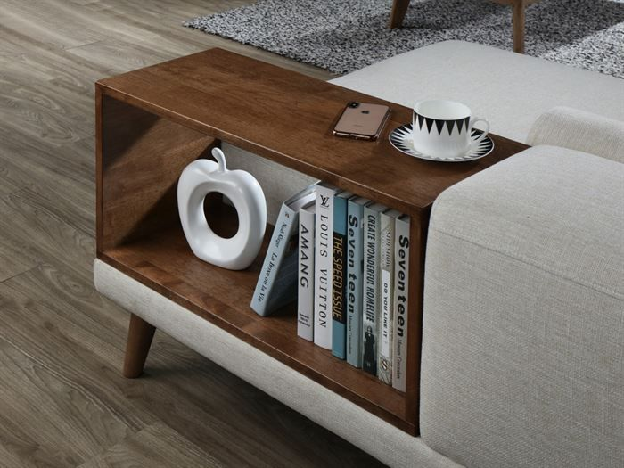Close up of Modern living room containing Paris 6PCE Living Room Furniture Package with Rustic Hardwood and Beige Fabric