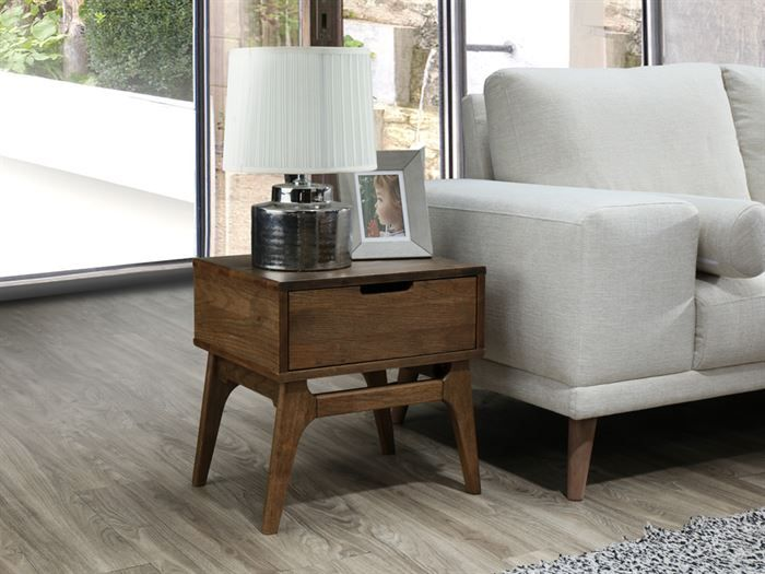 Side view of Modern living room containing Paris 6PCE Living Room Furniture Package with Rustic Hardwood and Beige Fabric
