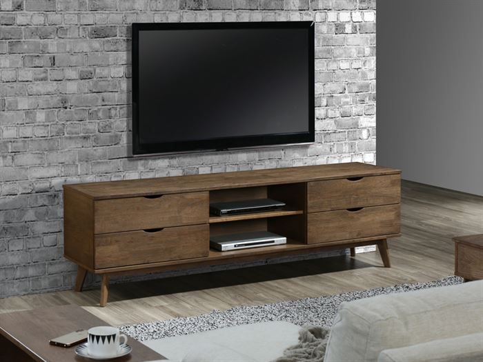 left view of Modern living room containing Paris 6PCE Living Room Furniture Package with Rustic Hardwood and Beige Fabric