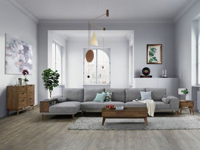 Room with modern living room furniture containing Paris Modular Sofa Series with L-Shape Extension Sofa with Chaise in Grey Fabric