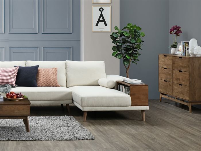 front view of Room with modern living room furniture containing Paris Modular Sofa Series with L-Shape Extension Sofa with Chaise in Beige Fabric
