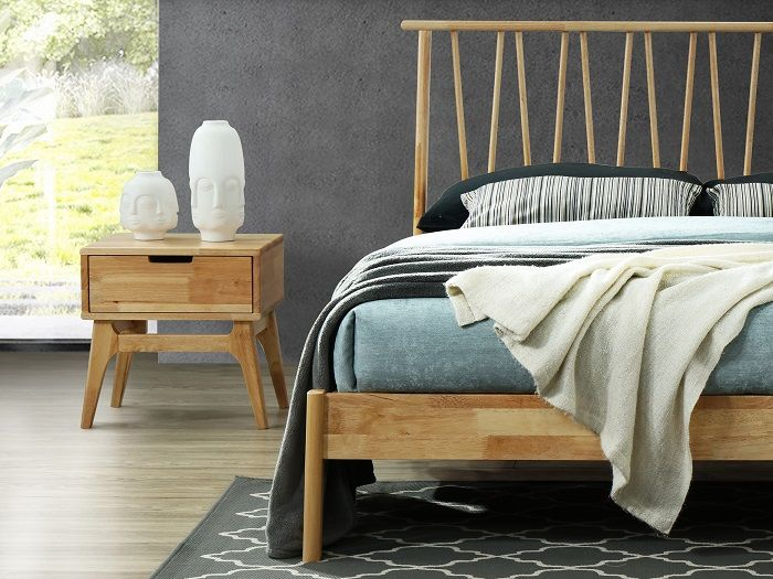 Close up of Room with Modern Bedroom Furniture containing  Paris natural hardwood bedside tables or nightstands