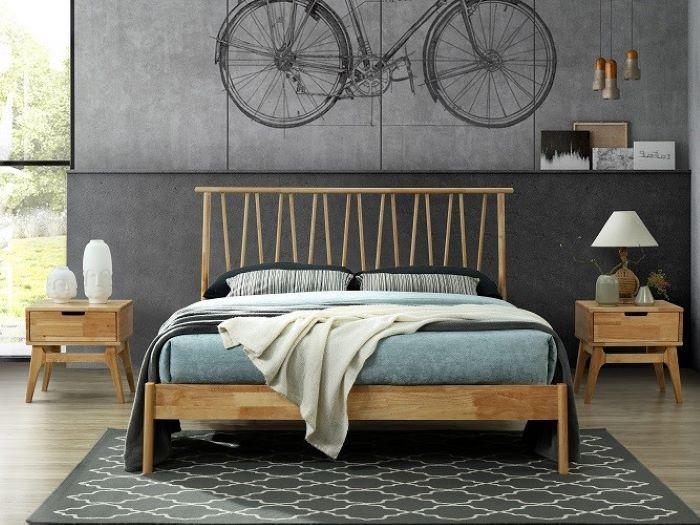 front view of Room with Modern Bedroom Furniture containing  Paris natural hardwood bedside tables or nightstands