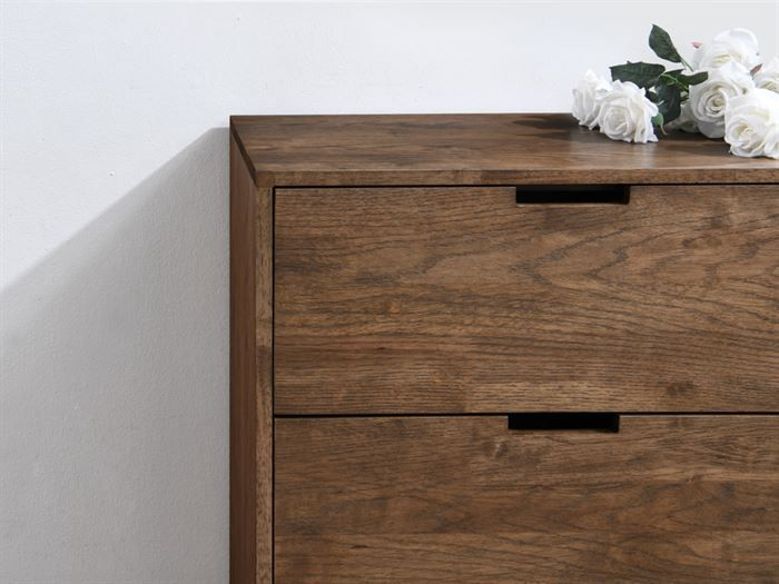 Close up of Room with Modern Bedroom Furniture containing  Paris hardwood Chest of Drawers or tallboy with rustic walnut finish