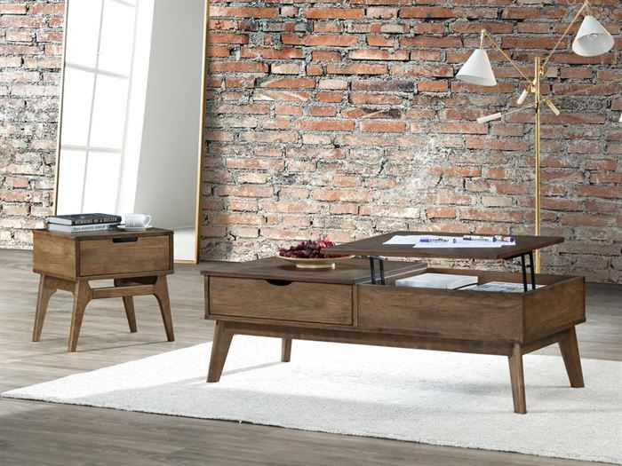 Room with Modern Living Room Furniture containing Paris 2PCE Coffee & Lamp Table Set with Rustic Walnut Finish