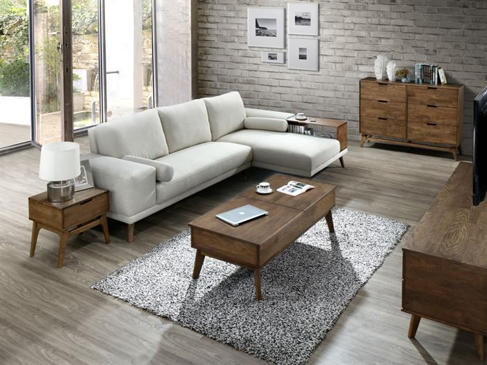 top view of Room with Modern Living Room Furniture containing Paris 2PCE Coffee & Lamp Table Set with Rustic Walnut Finish