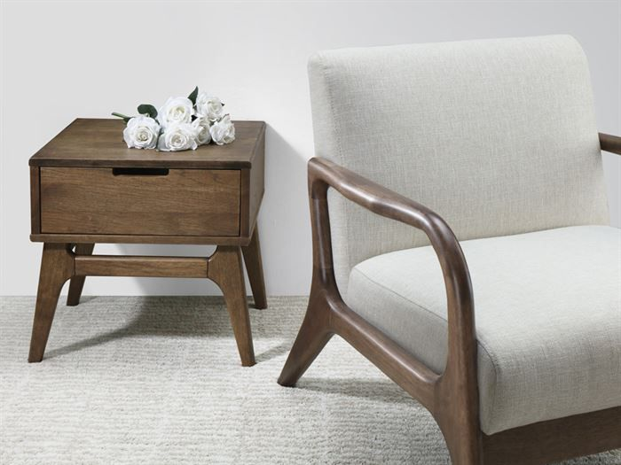 Room with Modern Living Room Furniture containing Paris Lamp Table or Side Table with Hardwood Rustic Walnut Finish