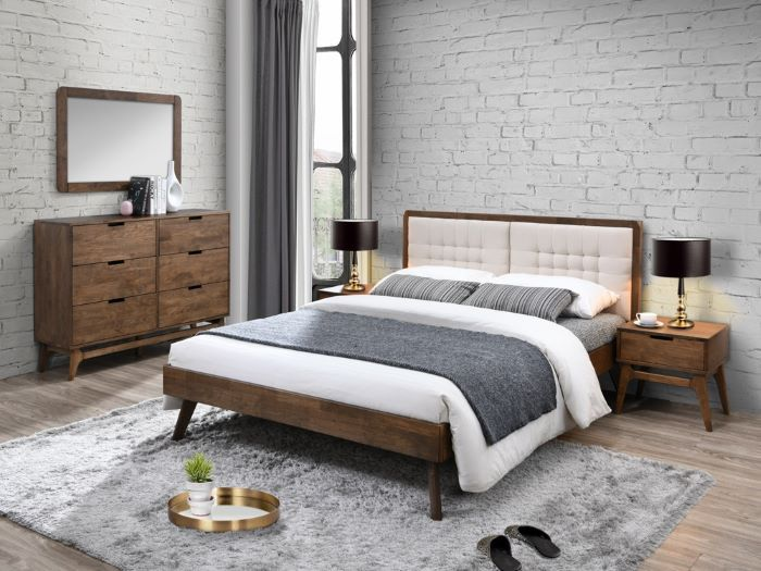 Room with Modern Bedroom Furniture containing  Paris 4PCE Hardwood Queen Size Bedroom Suite with rustic finish