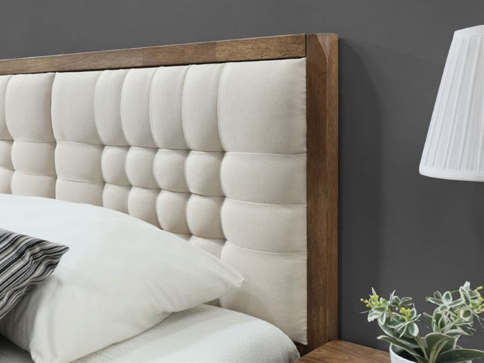 Close up of Room with Modern Bedroom Furniture containing  Paris hardwood queen size bed frame with rustic walnut finish
