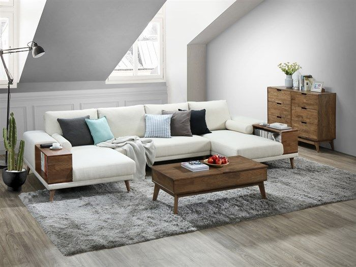 Room with modern living room furniture containing Paris Modular Sofa Series with U-Shape Sofa with Chaise in Beige Fabric