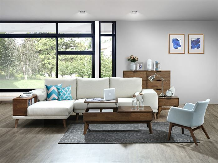 Room with modern living room furniture containing Paris Modular Sofa Series with L-Shape Sofa Chaise in Beige Fabric