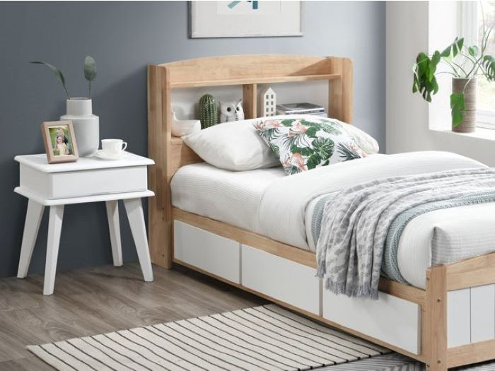 Close up view of Room with Modern Toddler Bedroom Furniture containing Rio Toddler Single Bed with Six Storage Drawers built with Natural Hardwood Frame
