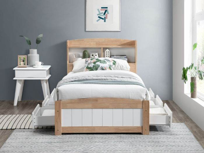 Front view of Room with Modern Toddler Bedroom Furniture containing Rio 9PCE Hardwood Single Bedroom Suite with Storage built with Hardwood Frame