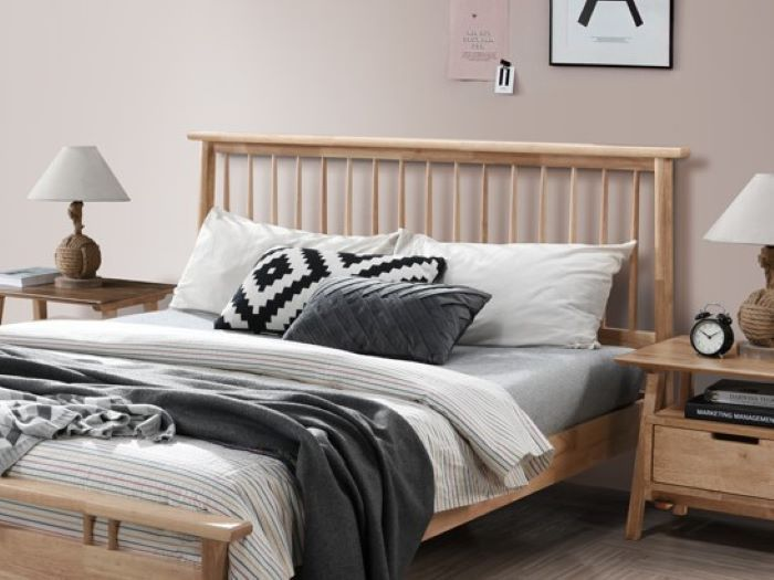 Close up of room with Modern Bedroom Furniture containing Rome Natural Double Bedroom Suite with Hardwood Frame