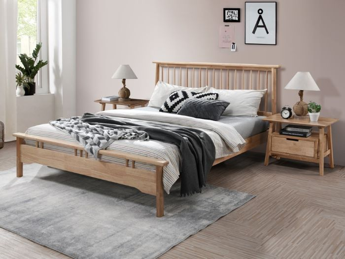 Room with Modern Bedroom Furniture containing Rome Natural Double Bedroom Suite with Hardwood Frame