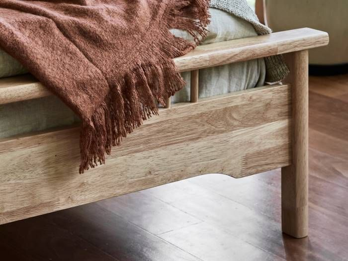 Close up of room with Modern Bedroom Furniture containing Rome Natural Hardwood Queen Bed