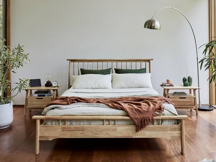 Room with Modern Bedroom Furniture containing Rome Queen Bedroom Suite with Natural Hardwood