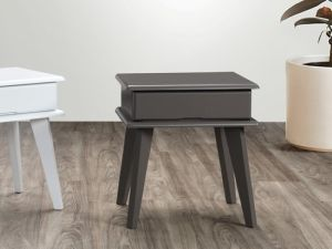 Ari Grey Bedside Table | Hardwood Frame