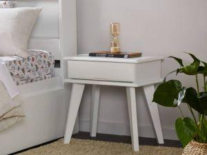 Ari White Bedside Table | Hardwood Frame