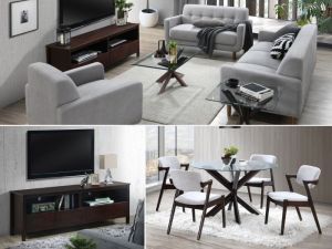 Bella 10PCE Home Living & Dining Furniture Package | Dark Hardwood |Grey