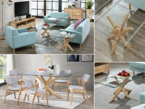 Bella 12PCE Home Living & Dining Furniture Package | Natural Hardwood | Aqua