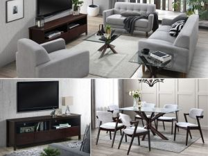 Bella 12PCE Home Living & Dining Furniture Package | Dark Hardwood