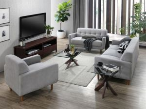 Bella 5PCE Living Room Furniture Package | Dark Hardwood | Grey