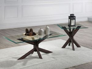 Bella 2PCE Glass Coffee & Lamp Table Set | Dark Hardwood