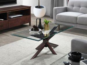 Bella Glass Coffee Table | Dark Hardwood Frame