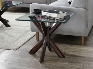 Bella Glass Lamp Table | Dark Hardwood Frame