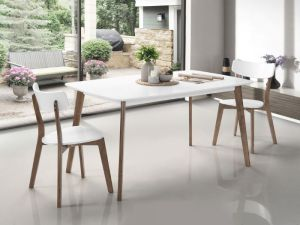 Claire White Dining Table | Walnut | Hardwood Frame