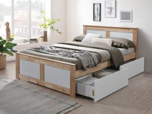 Coco Double Bed with Storage | Natural Hardwood Frame