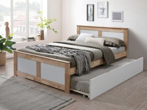 Coco Double Bed with Trundle | Natural Hardwood Frame