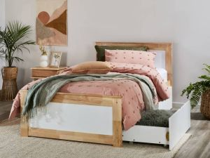 Coco King Single Bed with Storage | Natural Hardwood Frame