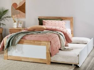 Coco King Single Bed with Trundle | Natural Hardwood Frame