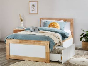 Coco Single Bed with Storage | Natural Hardwood Frame