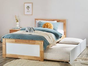 Coco Single Bed with Trundle | Natural Hardwood Frame