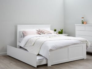 Coco White Double Bed with Trundle | Hardwood Frame