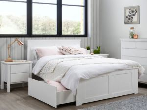 Coco 5PCE White Double Bedroom Suite | Storage
