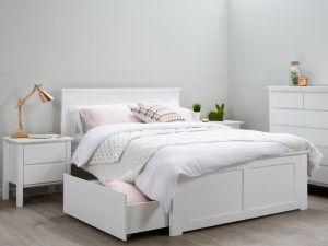 Coco White Double Bed with Storage | Hardwood Frame