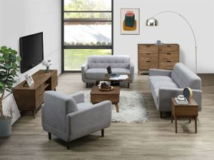 Cruz 5PCE Hardwood Living Room Furniture Package | Rustic Walnut