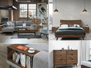 Cruz 9PCE Home Living & Bedroom Furniture Package | Rustic Hardwood