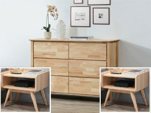 Finn 3PCE Chest of Drawer & Bedside Tables Set | Natural