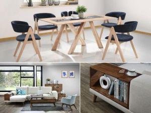 Gaudi 12PCE Home Dining & Living Furniture Package | Hardwood  | Navy