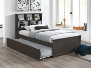 Myer Grey King Single Bed with Trundle | Hardwood Frame